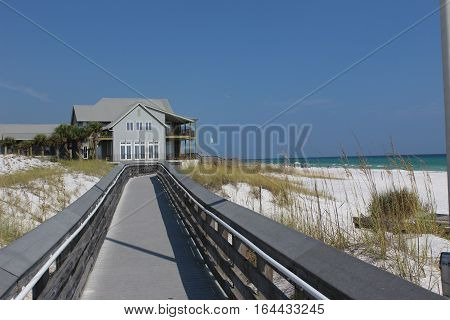 Boardwalk to the beach on sunny day