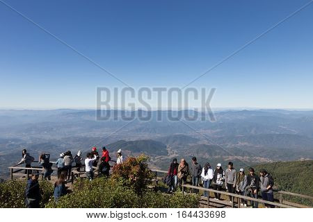 Tourist With Beautiful Scenery And Bright Sky At Kew Mae Pan Panoramic Vantage Point At Doi Inthanon