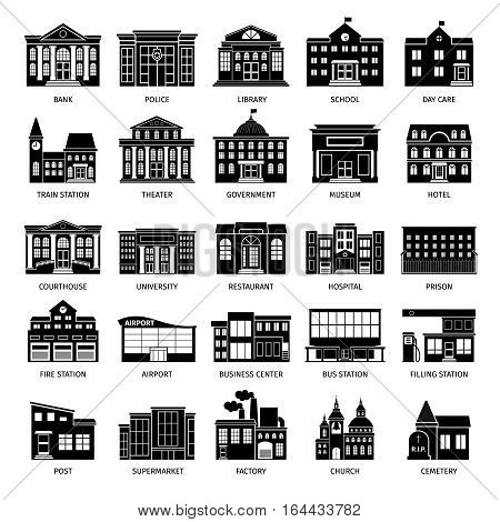 Government building black icons. City hospital and restaurant, university and museum buildings vector icon set