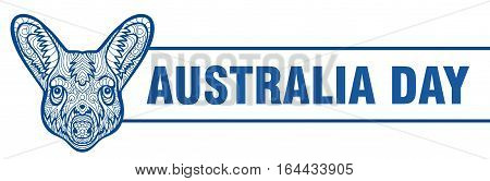 Happy Australia day banner. Vector illustration. Monochrome drawing of a kangaroo with patterns. Zenart