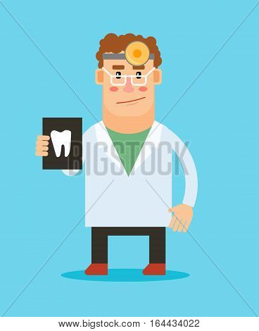 Dentist with tooth illustration cartoon character on blue background. Vector stomatologist icon