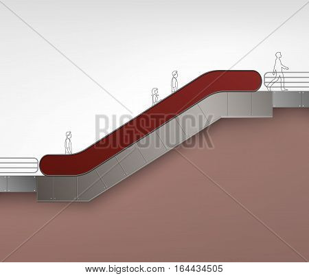 Vector Brown Red Modern Escalator with Place for Advertising Side view Isolated on Background