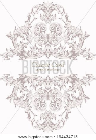 Vintage Baroque Invitation card Imperial style. Vector decor background. Luxury Delicate Classic ornament. Royal Victorian floral for birthday, wedding, textile print, wallpaper, wrapping papper
