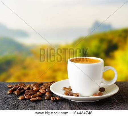Cup Of Coffee On Nature Background