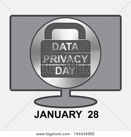 Data Privacy Day. Computer with lock sign.Unofficial Holidays.