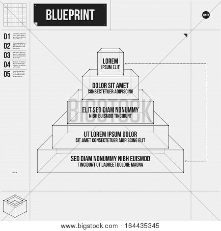 Pyramid Chart Template With Five Stages In Draft Style. Eps10