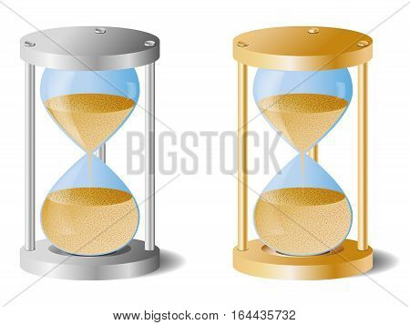 Hourglass gold and silver shades. Vector image.