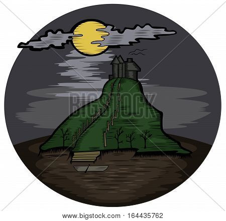 Horror Castle. Cartoon of Creepy Place. Vector Illustration.