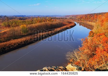 View of the Osage River during the autumn season. It is located in the Lake of the Ozarks area of Missouri.