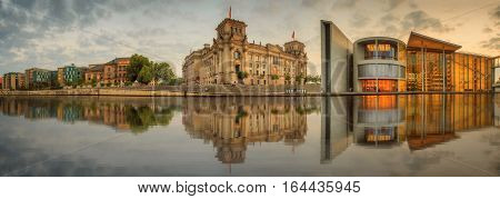 Panoramic view of government district at night, Berlin, Germany