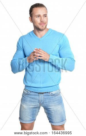 handsome hipster man posing against white background