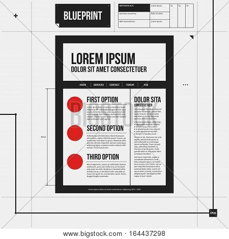 Web Site Template In Draft Style. Eps10