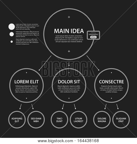 Corporate Presentation Template On Dark Background. Black And White Colors. Useful For Advertising,