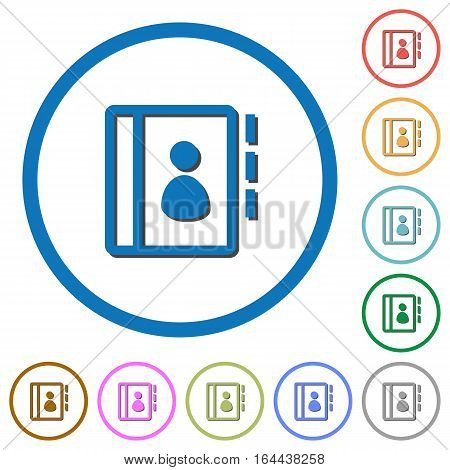 Contacts flat color vector icons with shadows in round outlines on white background