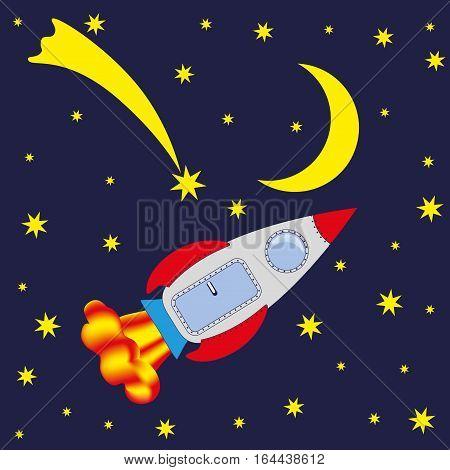 Rocket in space Moon comet. Vector image.