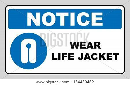 Life Jacket Wear Sign. Safety vest icon. Information mandatory symbol in blue circle isolated on white. Vector illustration. Notice label