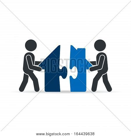 House puzzle icon vector isolated logo color illustration