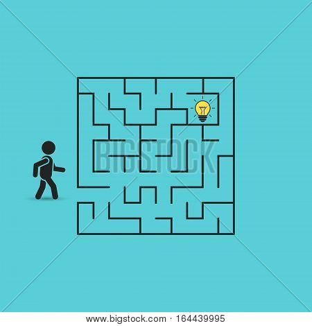 Man in labyrinth search idea light bulb vector business concept illustration.