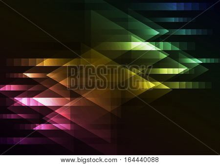 dark multicolor abstract overlap background, motion technology geometric layer, vector illustrator, two direction arrow communication internet