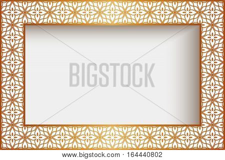 Rectangle frame with gold border decoration greeting card or wedding invitation template