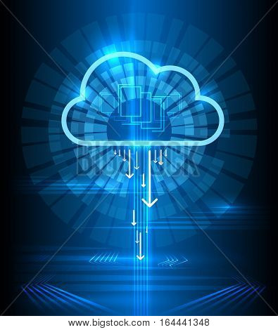Cloud technology modern blue vector background. Clouds computing communication graphics concept. Connection digital networking illustration