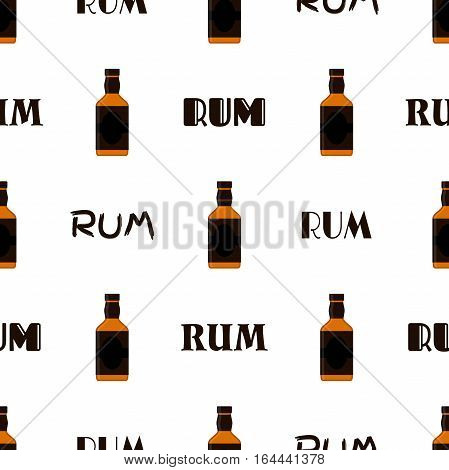 Rum bottles pattern. Alcohol drink flat style design. Vector illustration. Rum, whiskey, brandy, liquor for pubs, restaurants, hipster bars