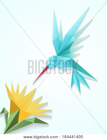 Origami hummingbird with flower. Paper 3D humming bird vector illustration. Decoration floral and fly bird