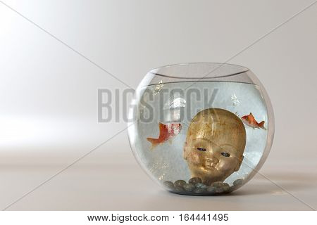 doll head into a fishbowl isolated on white background. 3D
