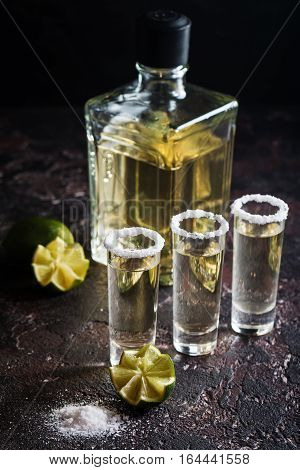 Mexican Gold Tequila with lime and salt on black background.