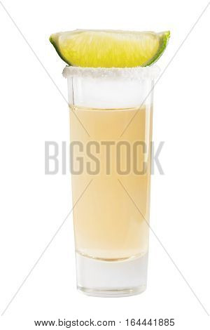 Shot of tequila with a slice of lime isolated no white background