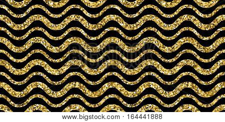 Gold sparkles glitter waves pattern on black background. Golden sparkle glitter and seamless wave with glitter foil. Vector illustration