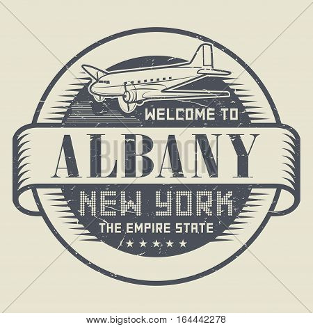 Grunge rubber stamp or tag with text Welcome to Albany New York vector illustration