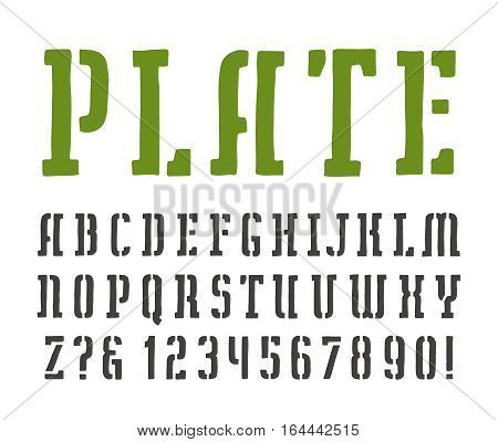 Stencil-plate slab serif font in the style of handmade graphics. Isolated on white background