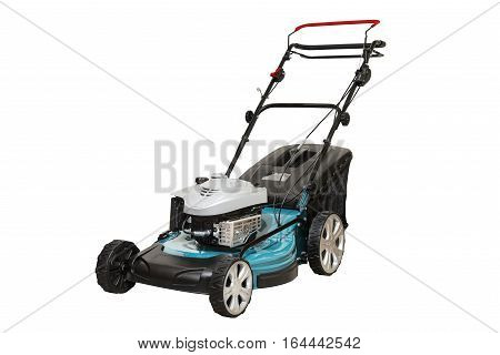 Blue Petrol Lawn Mower. Wheel Drive 4-stroke Petrol Blue Lawn Mower