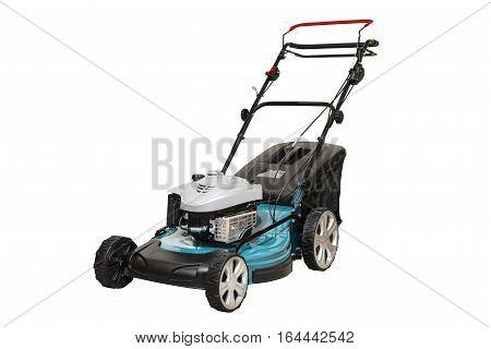 Blue Petrol Lawn Mower. Wheel Drive 4-stroke Petrol Blue Lawn Mower