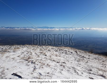 Views Across Lake Geneva across onto Mont blanc and the french alps