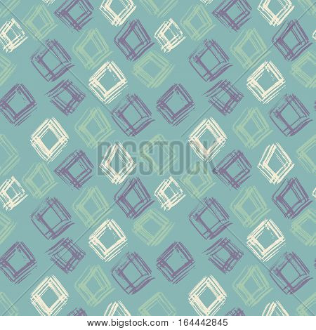 Hand drawn vector seamless pattern. Grunge abstract background. Repeating green geometric dry brush texture. Vector illustration