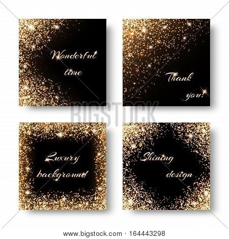 Set festive background for design of cards with gold shiny ornament. For registration to the Christmas party invitations birthday Valentines Day.