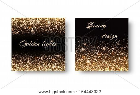 Golden reflections on black background for design of greeting cards. For registration to the Christmas party invitations birthday Valentines Day.
