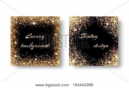 Set of backgrounds with shining lights for the grand design. Registration for celebrating birthdays New Year Christmas Valentines Day. Frame with gold glitter.