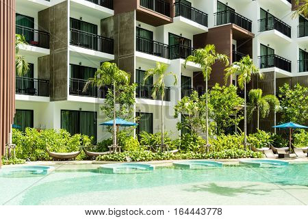 Condominium And Swiming Pool Life Of City People In Modern Town