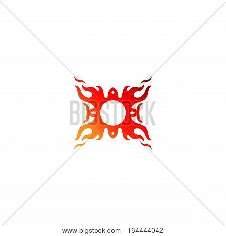 Stylized fire ornament isolated on a white backgorund.