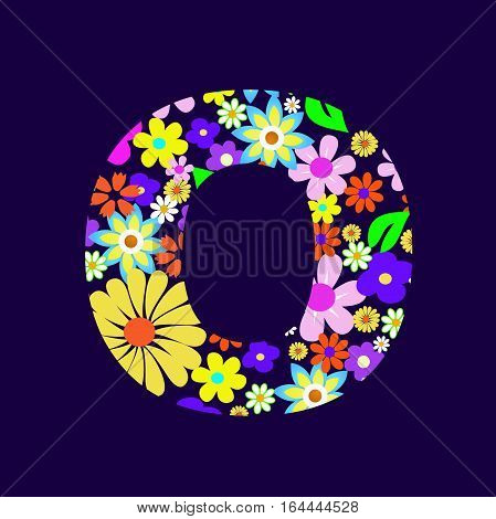 Letter of beautiful flowers O vector illustration