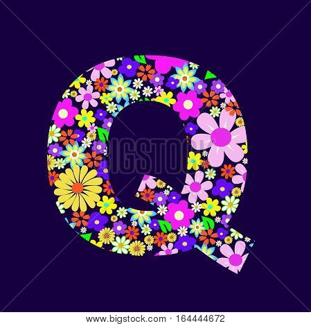 Letter of beautiful flowers Q vector illustration