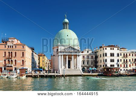 The San Simeone Piccolo On Blue Sky Background. Venice, Italy