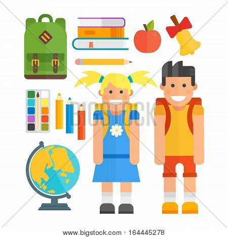 Set of education school symbol science icons on white background. Student cute girl and boy. Graduate childhood primary people, preschooler learning kids and vector tools.