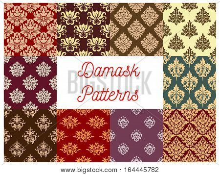 Damask ornament seamless pattern set. Baroque floral background with ornate flowers, leaves and victorian flourishes. Vintage embellishment, wallpaper and fabric design