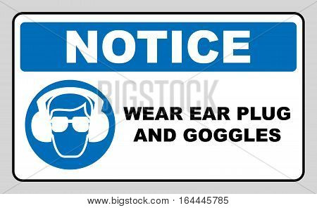 wear earmuffs or ear plugs goggles sign. Information mandatory symbol in blue circle isolated on white. Vector illustration