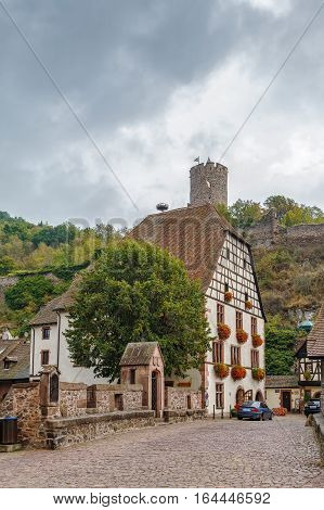 View of Kaysersberg with ruins of its castle Alsace France