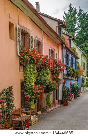 Street with historical houses in Kaysersberg Alsace France